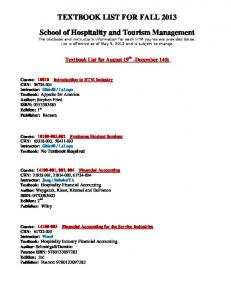 TEXTBOOK LIST FOR FALL 2013