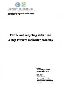 Textile and recycling initiatives- A step towards a circular economy