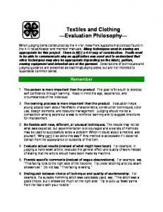 Textiles and Clothing Evaluation Philosophy