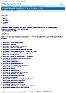 TEXTO ARTICULADO DEL CONVENIO COLECTIVO PROVINCIAL DE TRABAJO PARA EL SECTOR DE LA MADERA