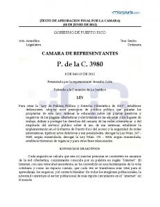 (TEXTO DE APROBACION FINAL POR LA CAMARA) (18 DE JUNIO DE 2012) GOBIERNO DE PUERTO RICO CAMARA DE REPRESENTANTES. P. de la C DE MAYO DE 2012