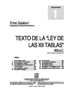TEXTO DE LA LEY DE LAS XII TABLAS 450 a.c