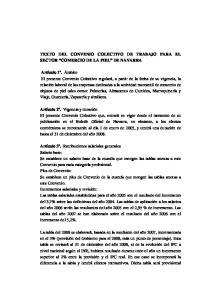 TEXTO DEL CONVENIO COLECTIVO DE TRABAJO PARA EL SECTOR COMERCIO DE LA PIEL DE NAVARRA