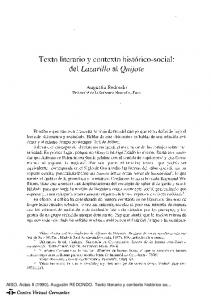 Texto literario y contexto histórico-social: del Lazarillo al Quijote