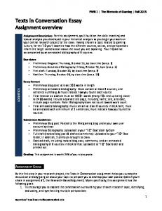 Texts in Conversation Essay Assignment overview