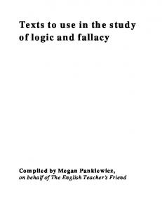 Texts to use in the study of logic and fallacy