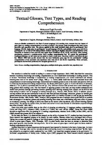 Textual Glosses, Text Types, and Reading Comprehension