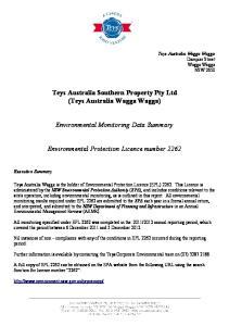 Teys Australia Southern Property Pty Ltd (Teys Australia Wagga Wagga) Environmental Monitoring Data Summary