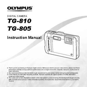 TG-810 TG-805. Instruction Manual DIGITAL CAMERA