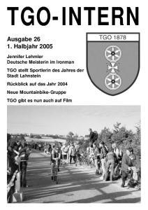TGO-INTERN. Ausgabe Halbjahr 2005