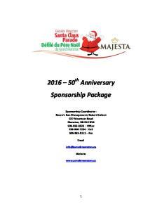 th Anniversary Sponsorship Package