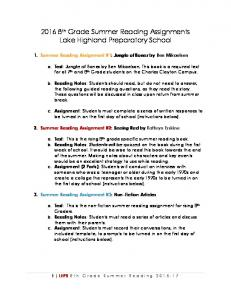 th Grade Summer Reading Assignments Lake Highland Preparatory School