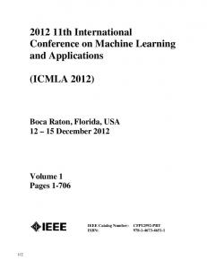th International Conference on Machine Learning and Applications
