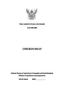THAI AGRICULTURAL STANDARD TAS CHICKEN MEAT