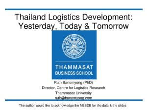 Thailand Logistics Development: Yesterday, Today & Tomorrow