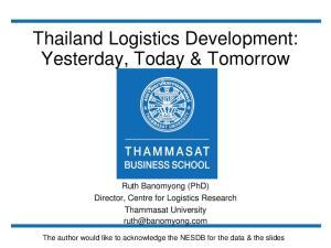 Thailand Logistics Development: Yesterday, Today & Tomorrow