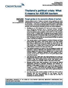 Thailand's political crisis: What it means for ASEAN tourism