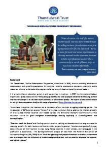 THANDULWAZI-ROKUNDA TEACHER DEVELOPMENT PROGRAMME