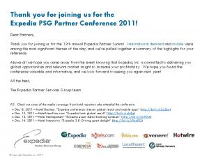 Thank you for joining us for the Expedia PSG Partner Conference 2011!