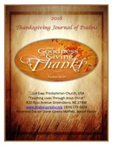Thanksgiving Journal of Psalms