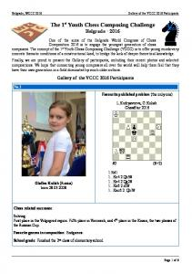 The 1 st Youth Chess Composing Challenge Belgrade 2016