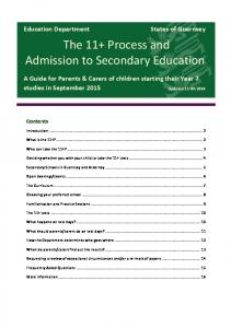 The 11+ Process and Admission to Secondary Education