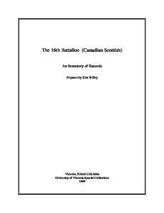 The 16th Battalion (Canadian Scottish)