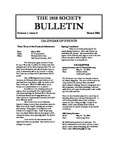 THE 1818 SOCIETY BULLETIN Volume 1, Issue 8 March 2005