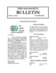 THE 1818 SOCIETY BULLETIN Volume 2, Issue 7 OCTOBER 2006