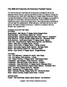 The 2006 All-Fraternity All-American Football Teams