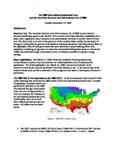 The 2009 International Residential Code and the American Recovery and Reinvestment Act of Updated September 23, 2009