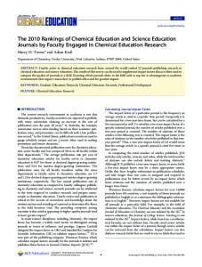 The 2010 Rankings of Chemical Education and Science Education Journals by Faculty Engaged in Chemical Education Research