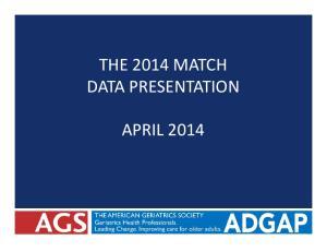 THE 2014 MATCH DATA PRESENTATION APRIL 2014