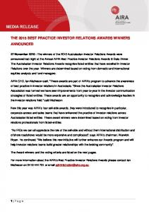 THE 2015 BEST PRACTICE INVESTOR RELATIONS AWARDS WINNERS ANNOUNCED