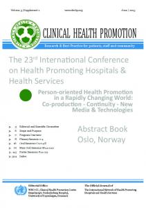 The 23 rd International Conference on Health Promoting Hospitals & Health Services