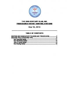 THE 3905 CENTURY CLUB, INC. PROCEDURES FOR NET CONTROL STATIONS. Sep 18, 2016 TABLE OF CONTENTS