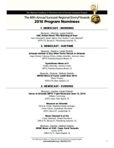 The 40th Annual Suncoast Regional Emmy Awards 2016 Program Nominees