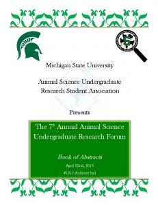 The 7 th Annual Animal Science Undergraduate Research Forum