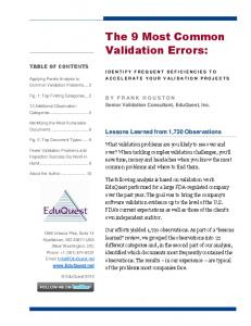 The 9 Most Common Validation Errors:
