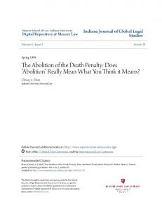 The Abolition of the Death Penalty: Does