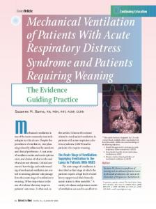 The Acute Stage of Ventilation: Supplying Ventilation to the Lungs in Patients With ARDS