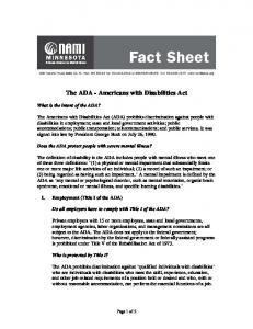 The ADA - Americans with Disabilities Act