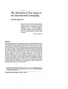 The Admission of New States to the International Community