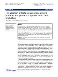 The adoption of technologies, management practices, and production systems in U.S. milk production