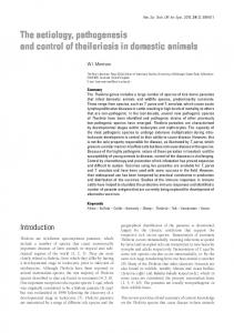 The aetiology, pathogenesis and control of theileriosis in domestic animals