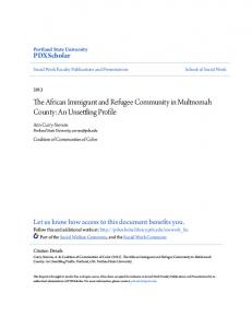 The African Immigrant and Refugee Community in Multnomah County: An Unsettling Profile