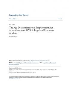 The Age Discrimination in Employment Act Amendments of 1978: A Legal and Economic Analysis