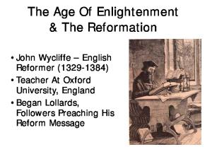 The Age Of Enlightenment & The Reformation