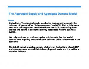 The Aggregate Supply and Aggregate Demand Model