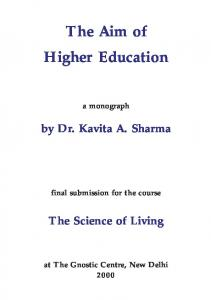 The Aim of Higher Education
